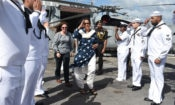 India's Minister of Defense, Nirmala Sitharaman tours the USS Michael Murphy (DDG-112) Arleigh Burke-class destroyer