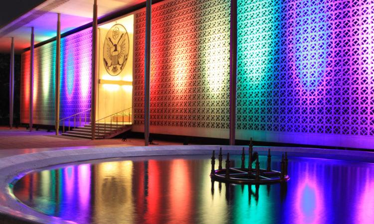 Embassy lit up, June 13, 2016