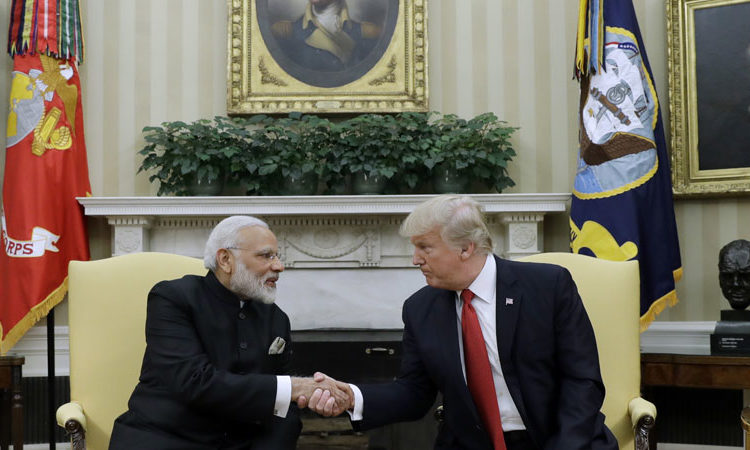 President Donald Trump shakes hands with Indian Prime Minister Narendra Modi during their meeting in the Oval Office of the White House in Washington, Monday, June 26, 2017
