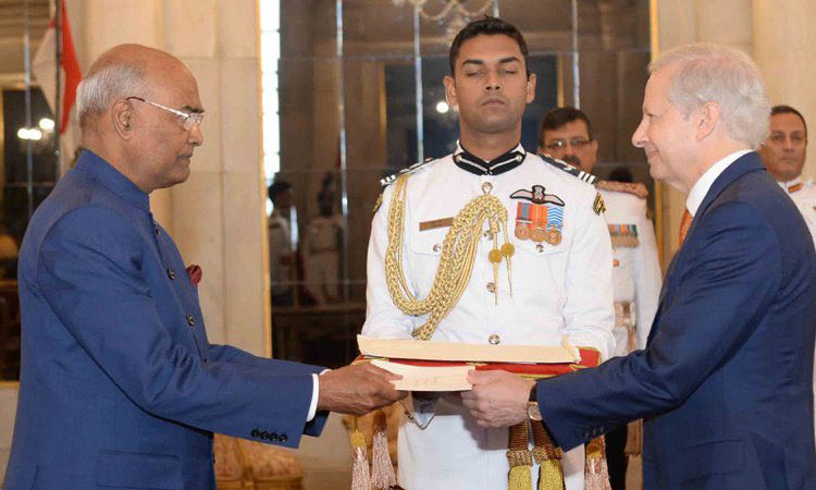 Ambassador presented credentials to #PresidentKovind at Rashtrapati Bhawan