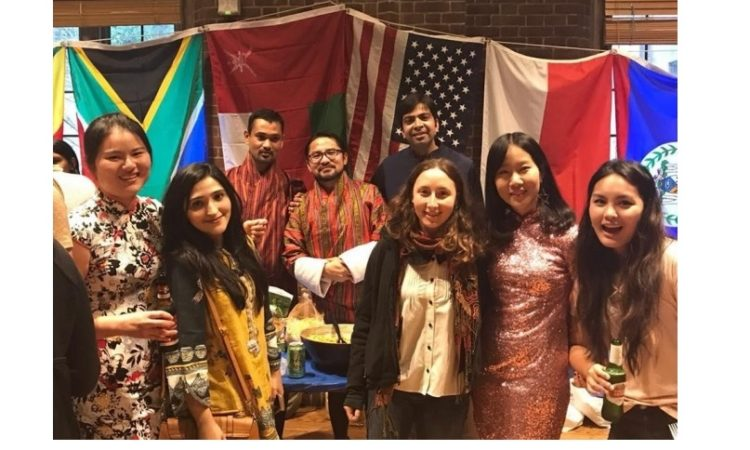 Fulbright-Nehru Master's fellow Ravikant Sharma (fifth from left) with other students celebrating International TGIF Festival at Yale University, New Haven, CT