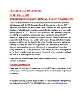 gst circular to vendors date july 10 2017 american consulate