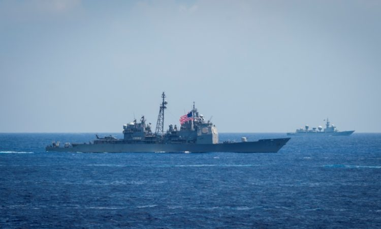 PHILIPPINE SEA (June 15, 2018) The Ticonderoga-class guided-missile cruiser USS Antietam (CG 54) sails in formation during exercise Malabar 2018. ... (U.S. Navy photo by Mass Communication Specialist 2nd Class Sarah Myers/Released)